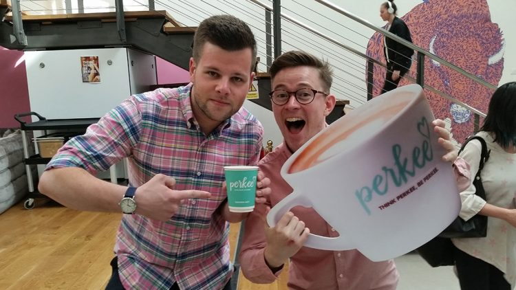 2 men on launch day of perkee coffee